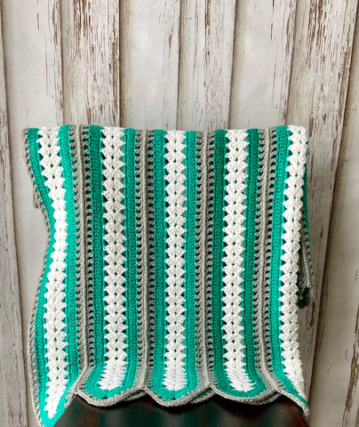 Green, White and Grey Stripe Blanket