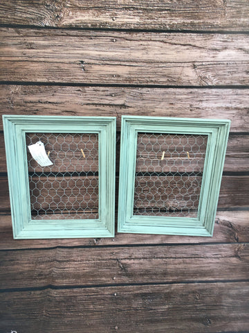 Set of 2 Distressed Sensible Sage Chicken Wire Frames