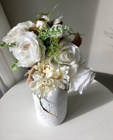 Large White Fall mason jar centrepiece with cotton