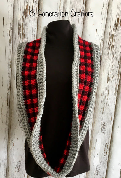 Textured Plaid Infinity Scarf