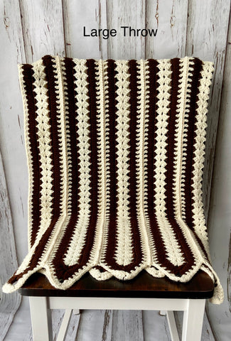 Cream and Brown Stripe Blanket