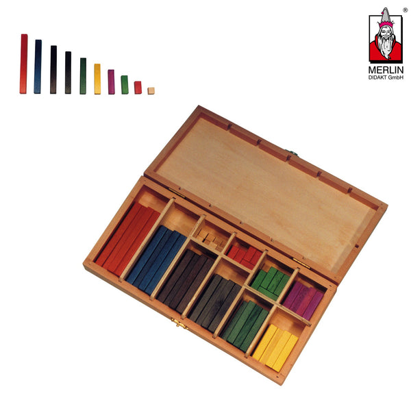 Cuisenaire Rechenstäbe in Holzbox Lernmaterial MERLIN Didakt