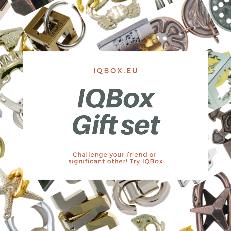 IQBox gift set, mechanical puzzle subscription. IQBox present, mekaniska pussel