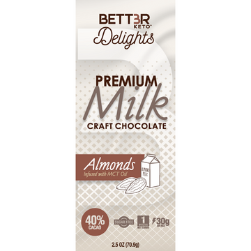 Premium Keto Milk Chocolate Bar 40% Cacao - Almonds 2.5 oz. - Keto Diet Done Better