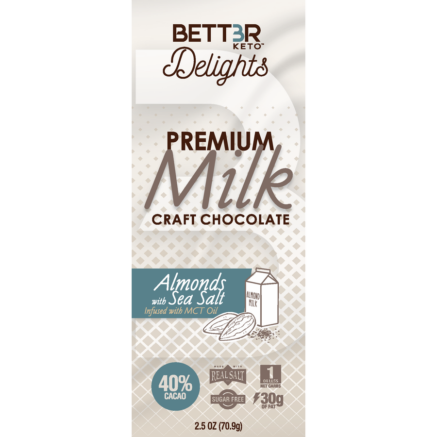 Premium Keto Milk Chocolate Bar 40% Cacao - Almonds & Sea Salt 2.5 oz. - Keto Diet Done Better