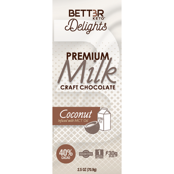 Premium Keto Milk Chocolate Bar 40% Cacao - Coconut 2.5 oz. - Keto Diet Done Better