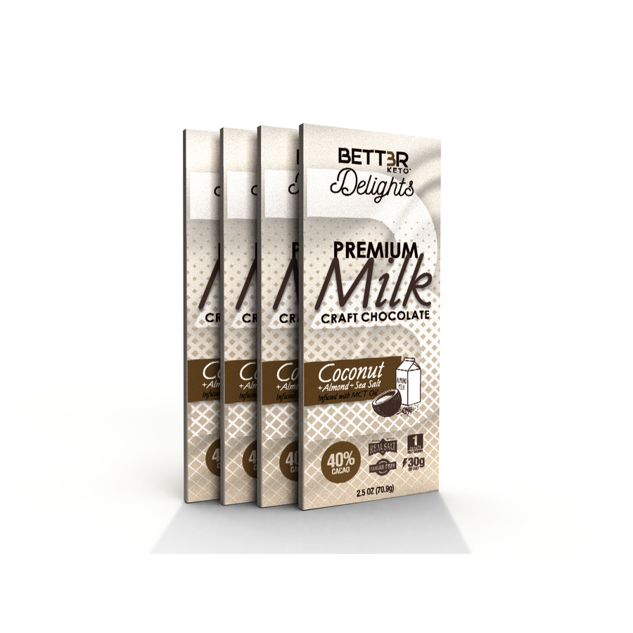 Premium Keto Milk Chocolate Bar 40% Cacao - Coconut + Almonds & Sea Salt 2.5 oz. - Keto Diet Done Better