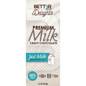 Premium Keto Milk Chocolate Bar 40% Cacao - 2.5 oz. - Keto Diet Done Better