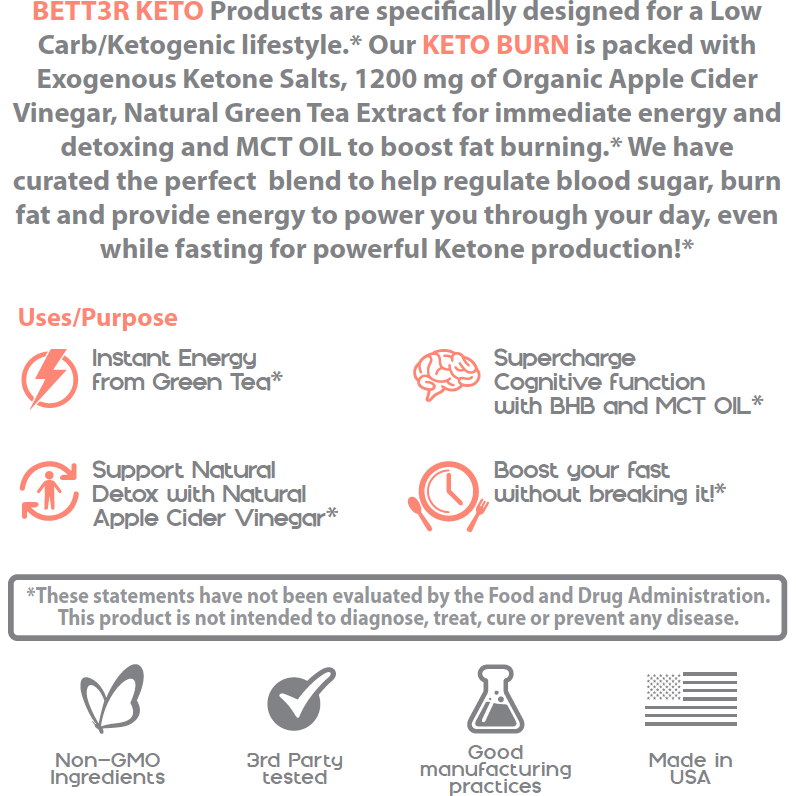 Keto Burn BHB Salts w/ MCT Oil Capsules & Apple Cider Vinegar - Keto Diet Done Better