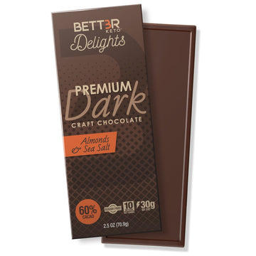 Premium Dark Keto Chocolate Bar 60% Cacao - Sea Salt & Almond - Keto Diet Done Better