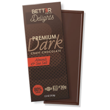 Premium Keto Dark Chocolate Bar 80% Cacao - Sea Salt & Almond - Keto Diet Done Better