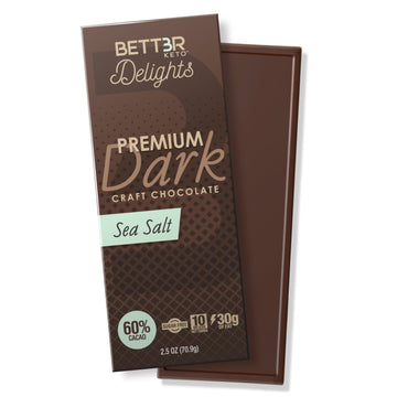 Keto Dark Chocolate Bar 60% Cacao - Sea Salt 2.5 oz - Keto Diet Done Better