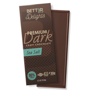 Premium Keto Dark Chocolate Bars 80% Cacao - Sea Salt - Keto Diet Done Better