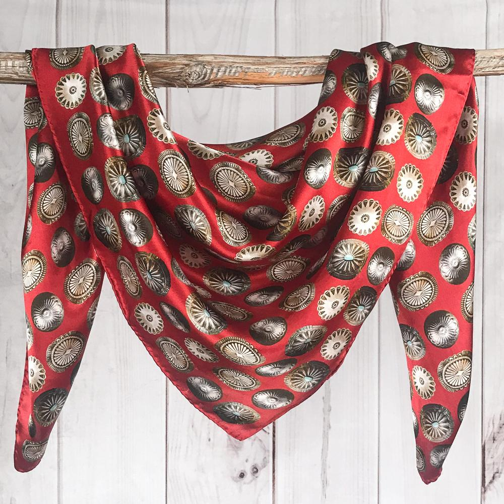 Red Baby Concho Fringe Scarf