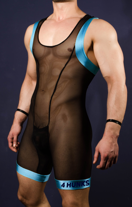 Dirty Wrestler Singlet - Aqua - 4 Hunks