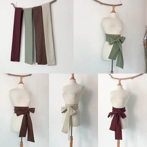 Sold. bundle Sale four cotton obi sashes ready to wear - linen clothing by anny