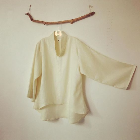 Made to order size XS to 6XL chipao collar linen wavy blouse - linen clothing by anny