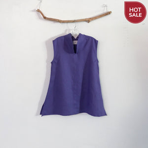 size M light purple sleeveless top - linen clothing by anny