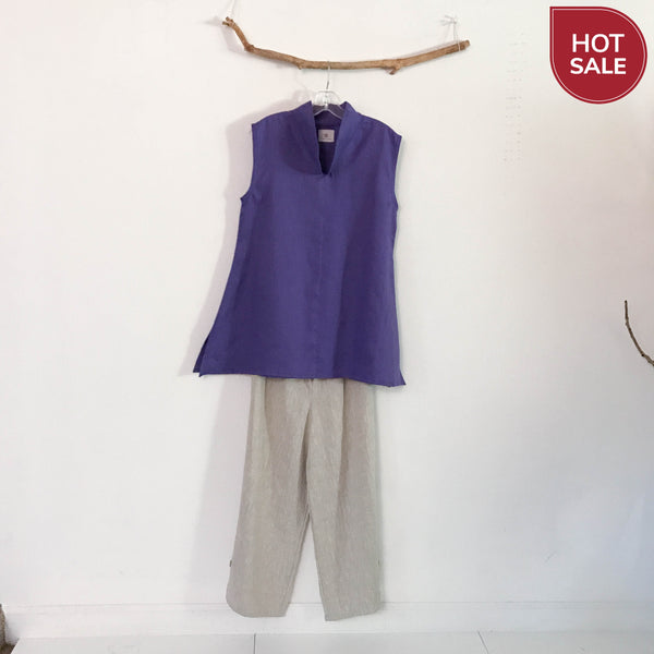 ready to wear size M light purple linen top - linen clothing by anny