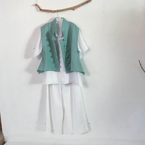 white and mint linen outfit made to measure listing - linen clothing by anny