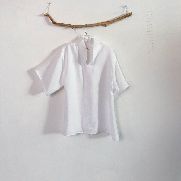 custom linen short sleeve blouse size XS to 6XL