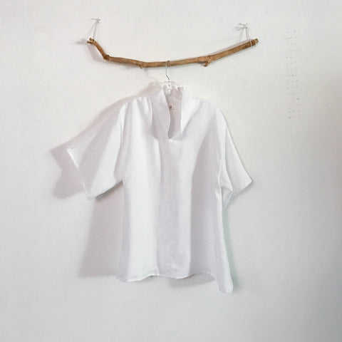 custom linen short sleeve blouse size XS to 6XL - linen clothing by anny