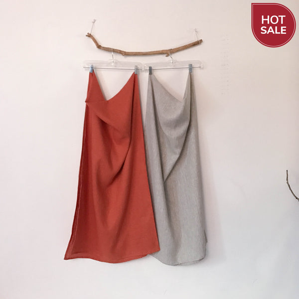 Sold / ready to wear handmade linen shawl orange linen - linen clothing by anny