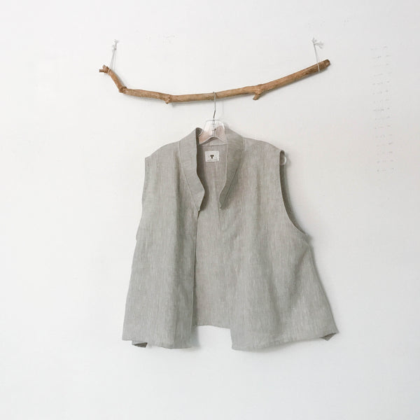 minimalist linen vest lagenlook made to order - linen clothing by anny