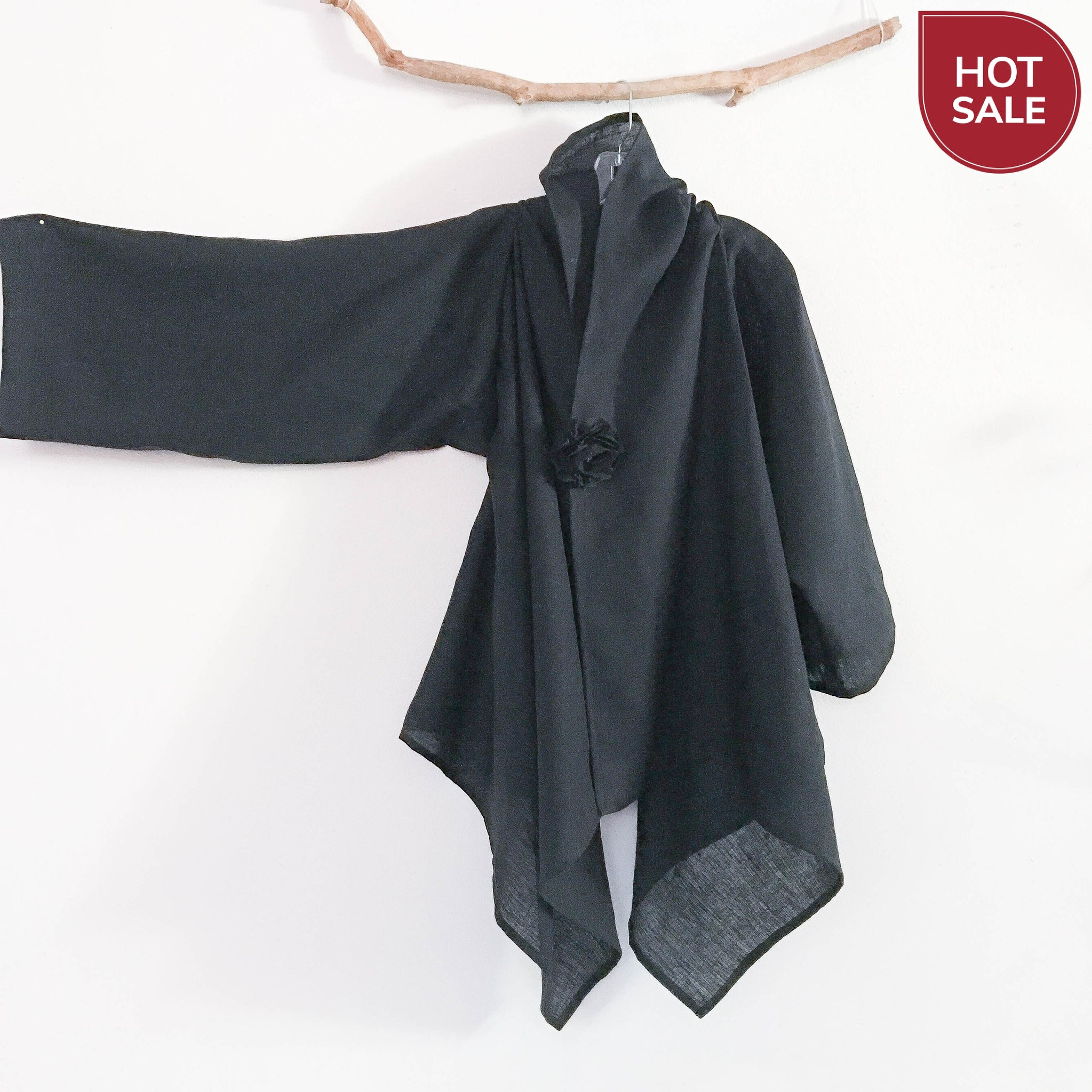 Sold / ready wear black linen wrap jacket with extra width plus size fit too