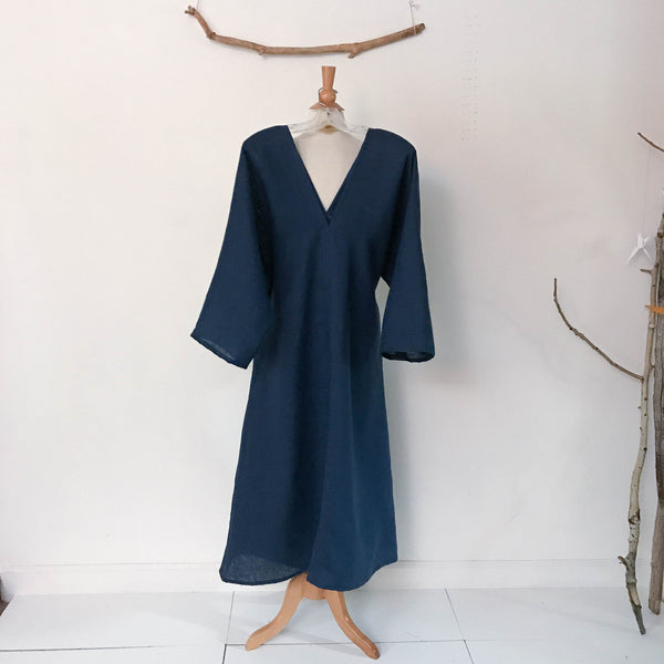 custom V shaped neckline kimono sleeve flying swallow linen dress - linen clothing by anny