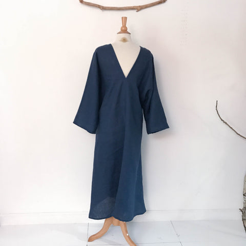 custom V shaped neckline kimono sleeve flying swallow linen dress