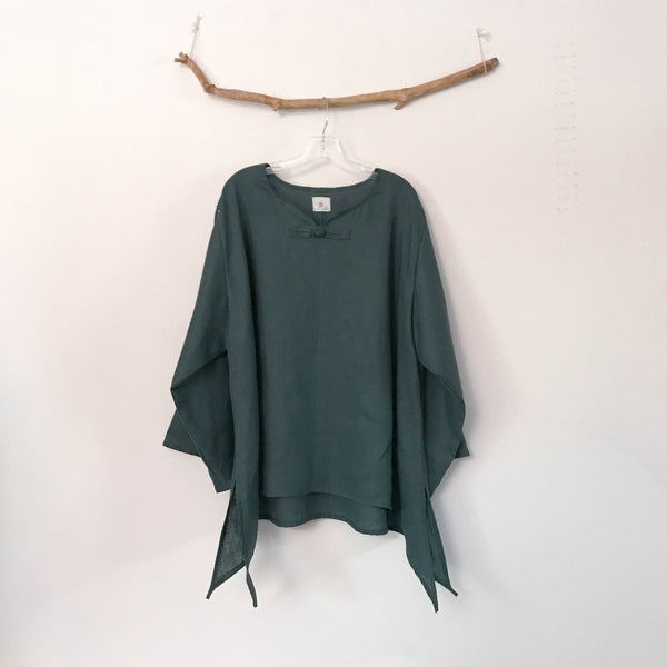 custom long sleeve swallow side splits top - linen clothing by anny