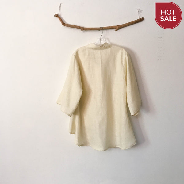 size M cream linen wavy end blouse ready to wear - linen clothing by anny