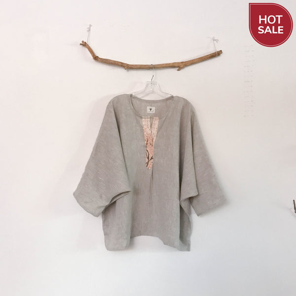 Sold / oversized pebble linen top with kimono motif front placket trim ready to wear - linen clothing by anny