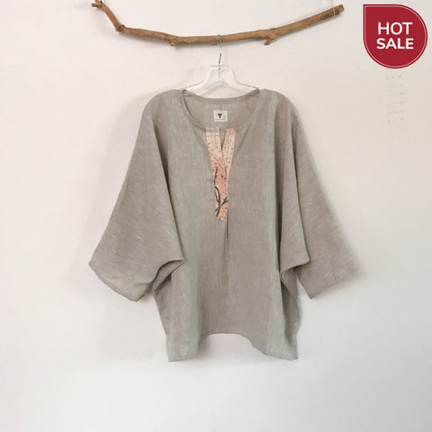 Sold / oversized pebble linen top with kimono motif front placket trim ready to wear