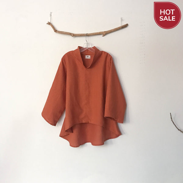 Sold / Ready wear rust linen chi pao collar wavy hem blouse size L