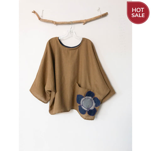 sold / ginger linen oversized top with big flower on pocket ready to wear - linen clothing by anny