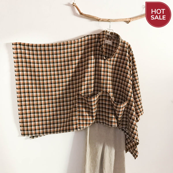 ready to wear orange black cream houndstooth wool swallow poncho with big pockets - linen clothing by anny