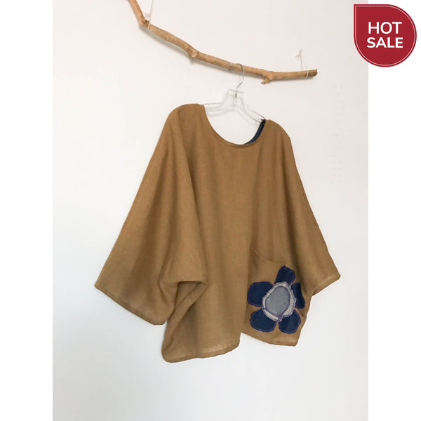ginger linen oversized top with big flower on pocket ready to wear-top-linen clothing by anny