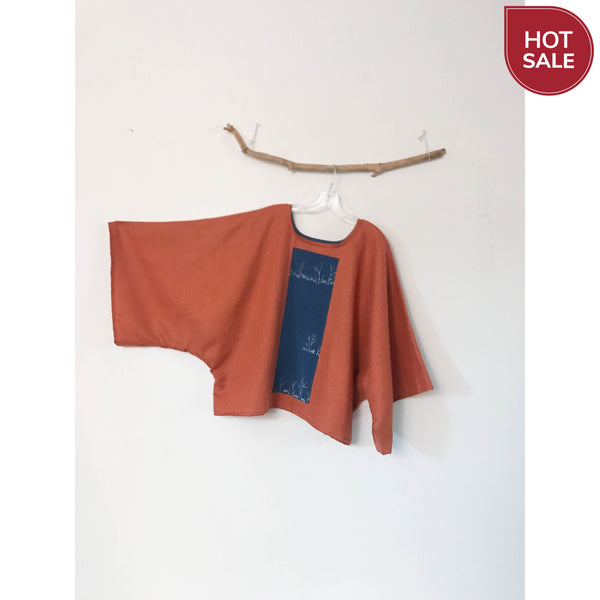 oversized rust linen top with vintage kimono panel / ready to wear - linen clothing by anny