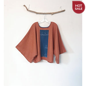 oversized rust linen top with vintage kimono panel / ready to wear-blouse-linen clothing by anny
