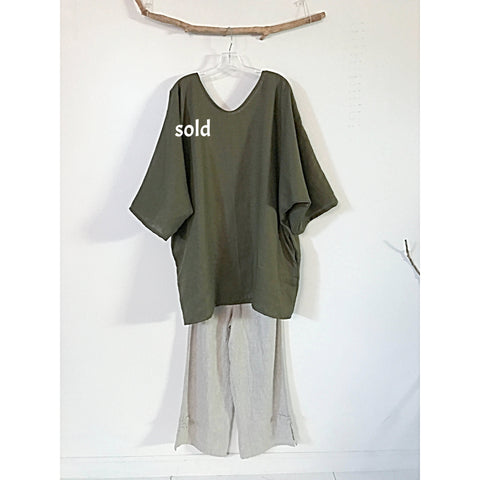 plus size spagatti olive linen tunic with pockets-tunic-linen clothing by anny
