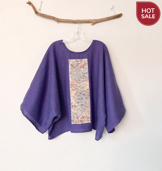unique gift for her - purple kimono linen top - ready to wear - linen clothing by anny