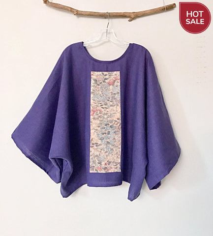 oversized light purple linen top with vintage kimono panel ready to wear- linen clothing by anny