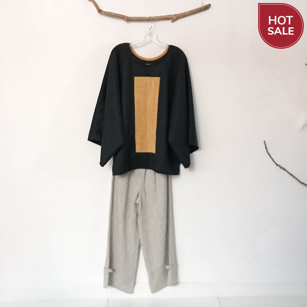 oversized heather black wool top with vintage kimono panel ready to wear - linen clothing by anny