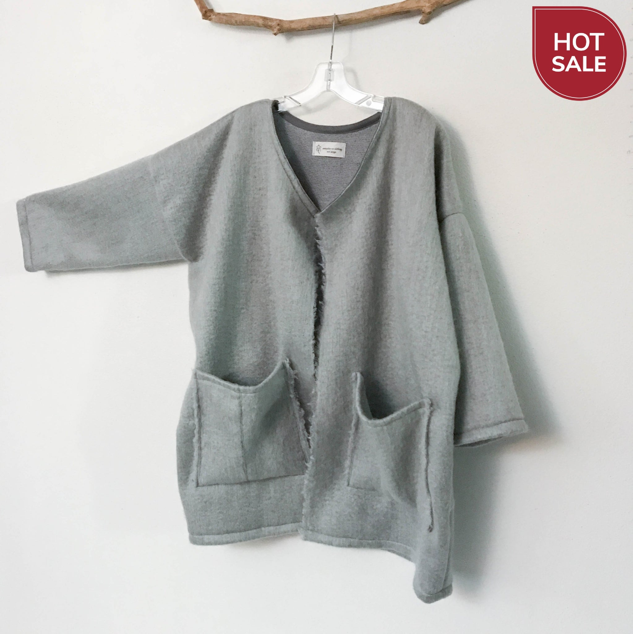 ready to wear oversized light gray brushed fur wool coat jacket with two pockets- linen clothing by anny