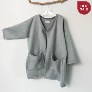 ready to wear oversized light gray brushed fur wool coat jacket with two pockets - linen clothing by anny