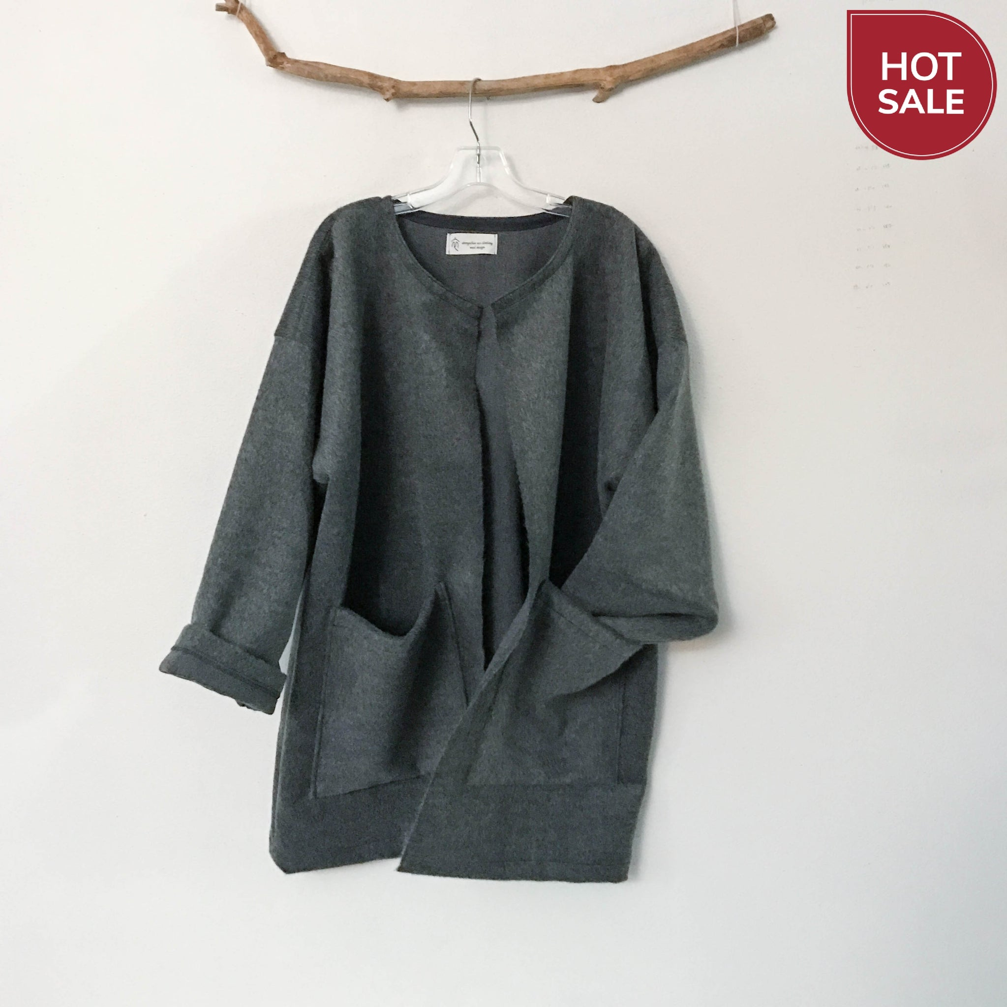 ready to wear plus size dark gray brushed wool coat jacket with two pockets - linen clothing by anny