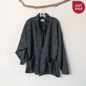 ready to wear black blue plaid wool boucle coat jacket with two pockets - linen clothing by anny