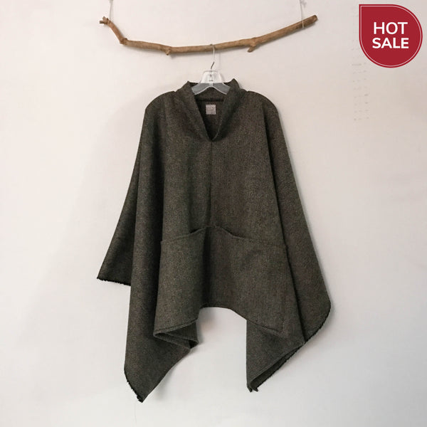 ready to wear brown green herringbone wool swallow poncho with big pockets limited edition